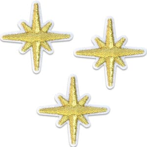 Tre kompasstjärnor guld - tygmärke