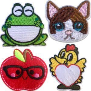 Tygmärken för barn föreställande en groda, en katt, ett roligt äpple och en kyckling