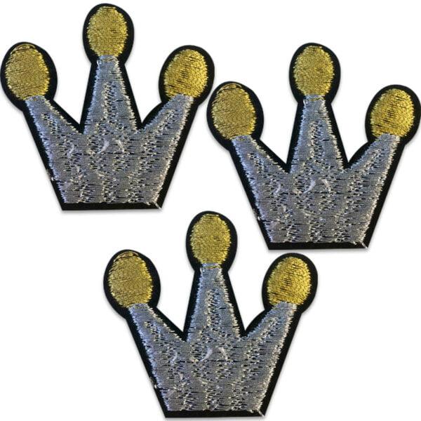tre silverkronor guldtopp - tygmärke