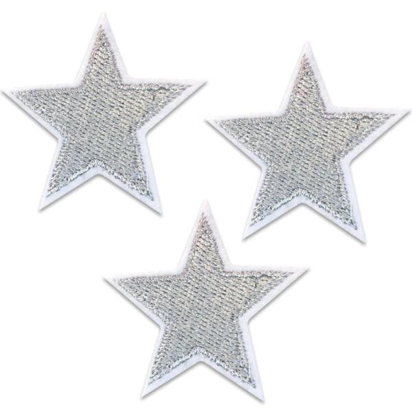 tygmärken - silver stjärnor