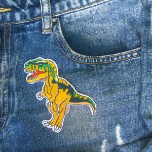 T-Rex Brun/Grön jeans - Tygmärke