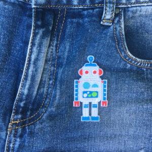 Vit robot röda öron jeans - Tygmärke