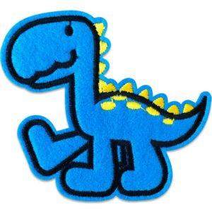 blå dinosaurie går gula prickar - strykbart tygmärke