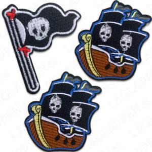 Tygmärken piratskepp och sjörövare