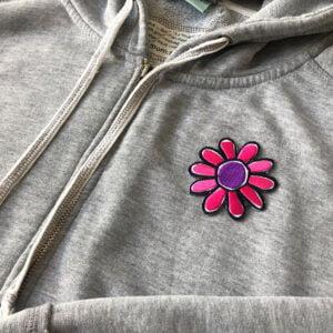 tecknad ritad blomma - tygmärke tröja