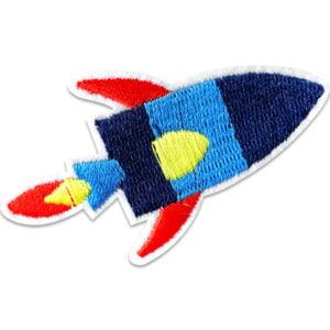 blå raket röda vingar - tygmärke