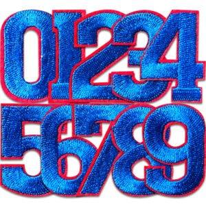 blå siffror med röda kanter - 0,1,2,3,4,5,6,7,8 och 9
