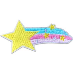 fallande stjärna färgglad - tygmärke