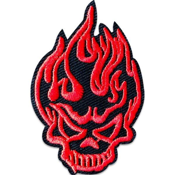 flammande dödskalle röd - tygmärke