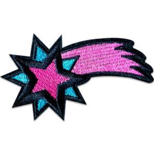 fallande stjärna blå lila - tygmärke