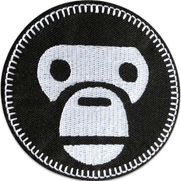 apa huvud svart vit - tygmärke