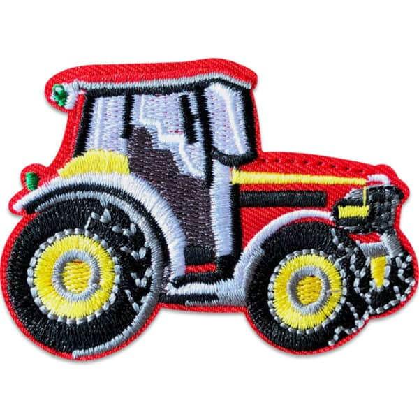 röd traktor tygmärke