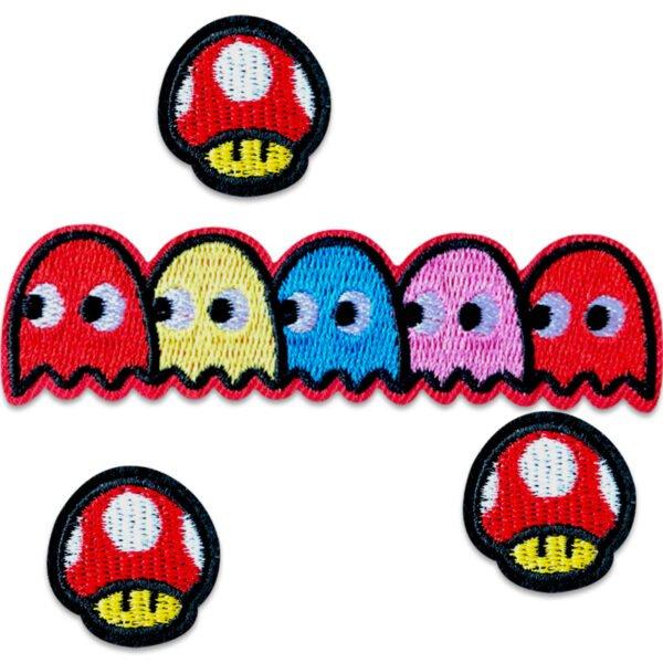 gaming spel super mario pacman - tygmärken