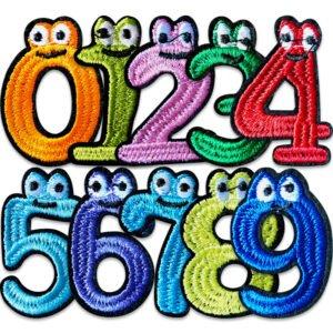 roliga siffror - tygmärken , ett, två, tre, fyra, fem, sex, sju, åtta, nio