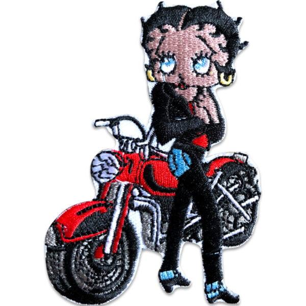 betty boop röd motorcykel - tygmärke