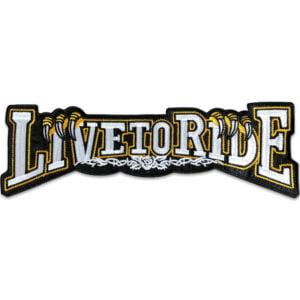 stort tygmärke live to ride vit