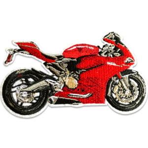 motorcykel röd - tygmärke