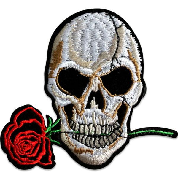 dödskalle med ros - tygmärke