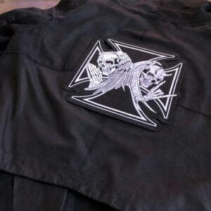 malteserkors ängel demon ryggmärke - tygmärke läderjacka