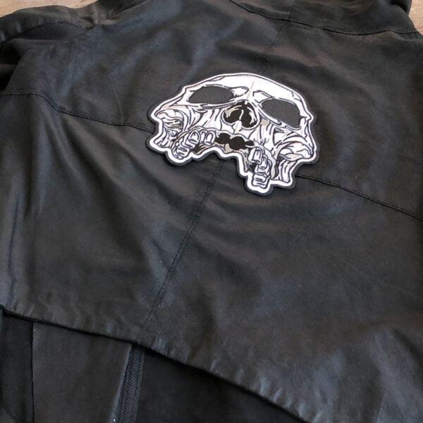 Dödskalle Doom - stort tygmärke för läderjacka