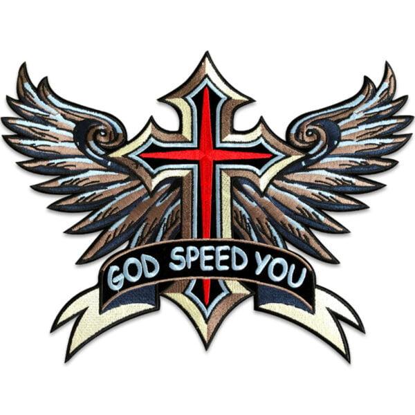 kors med vingar ryggmärke - tygmärke