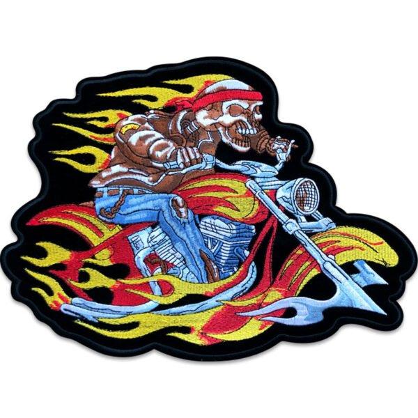motorcykel flammor ryggmärke - tygmärke