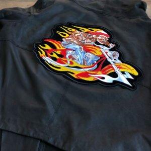 motorcykel flammor ryggmärke - tygmärke läderjacka