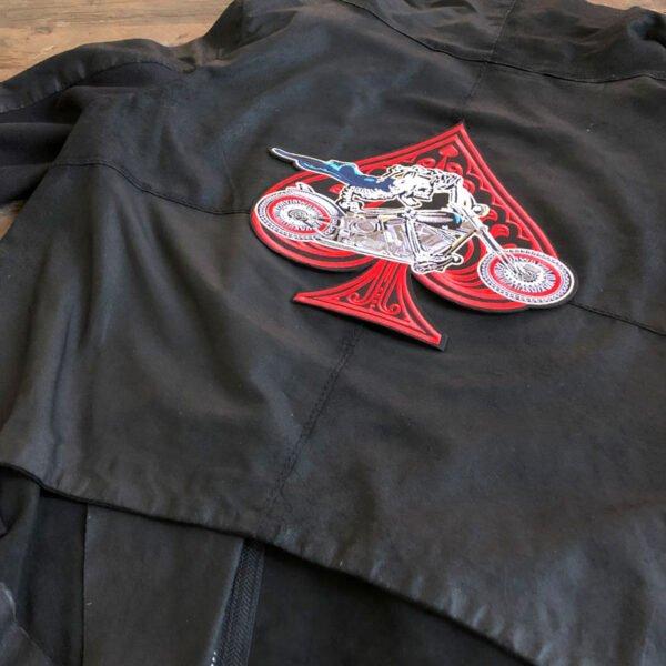 motorcykel spader ryggmärke - tygmärke läderjacka