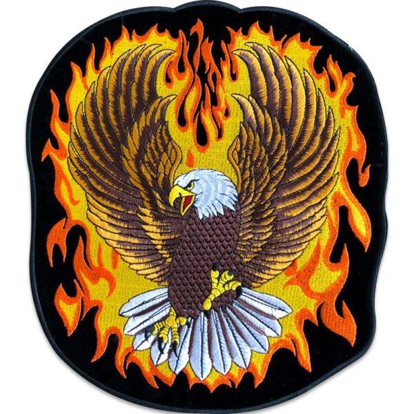 örn med flammor ryggmärke - tygmärke