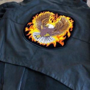 örn med flammor ryggmärke - läderjacka