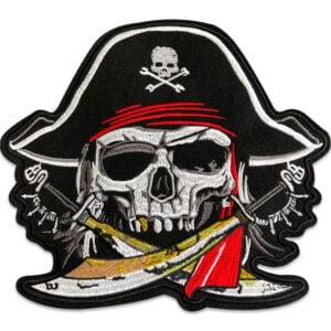 piratskalle med sablar ryggmärke - tygmärke
