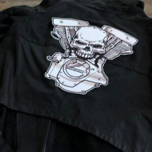stort tygmärke - döskalle motor läderjacka