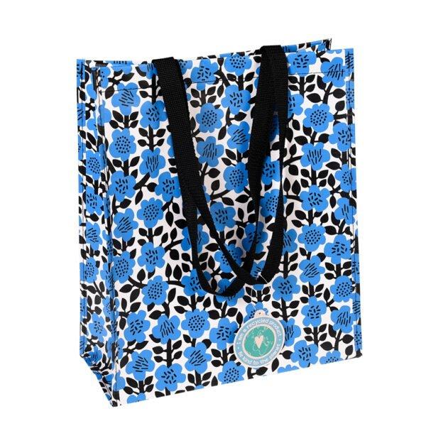 shoppingkasse retro med blå blommor