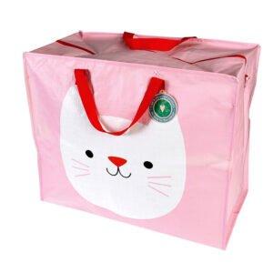 Rosa förvaringsväska med en katt