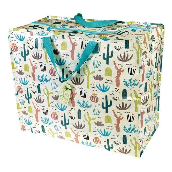 Stor shoppingväska med dragkedja - blommande öken