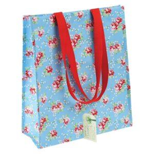 Blå shoppingkasse med röda handtag