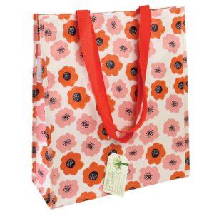 röda blommor - shoppingpåse