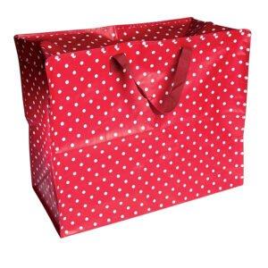 Röd förvaringsväska med vita prickar - vintage