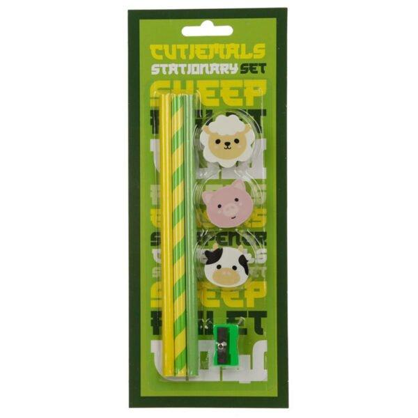 Pysselset för barn med suddgummi, pennvässare och pennor