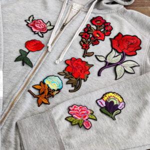blommor tröja - tygmärken
