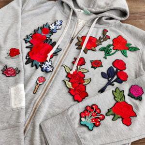 rosor blommor tröja - tygmärken