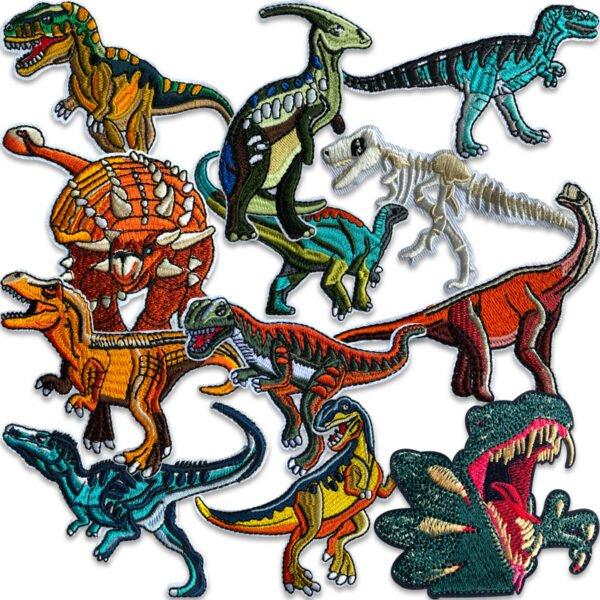 samling dinosaurier tygmärken