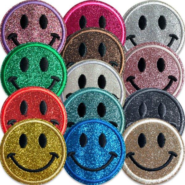 glittriga smiley tygmärken att stryka på kläder