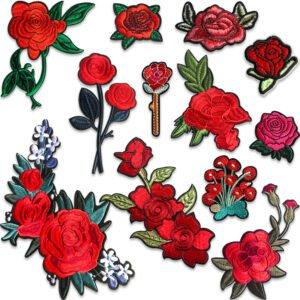 röda rosor tygmärken påstrykbara