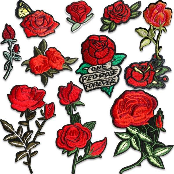 röda rosor tygmärken