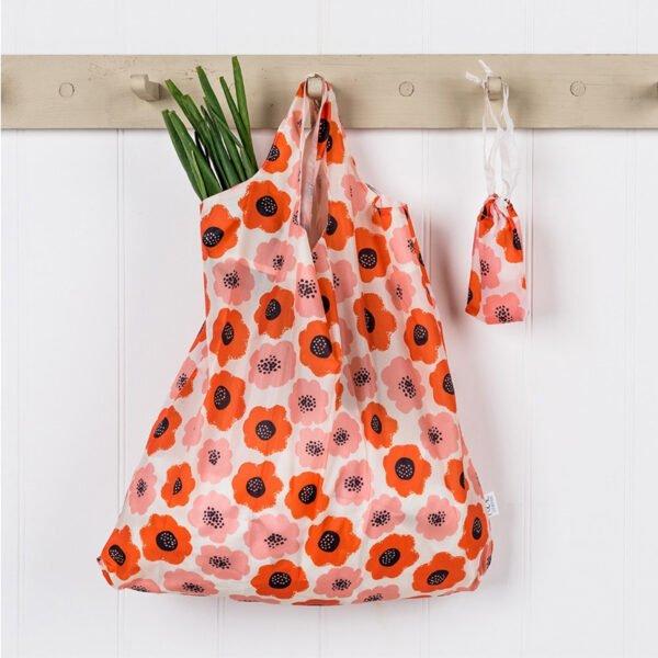 hopvikbar shoppingpåse blommor vintage