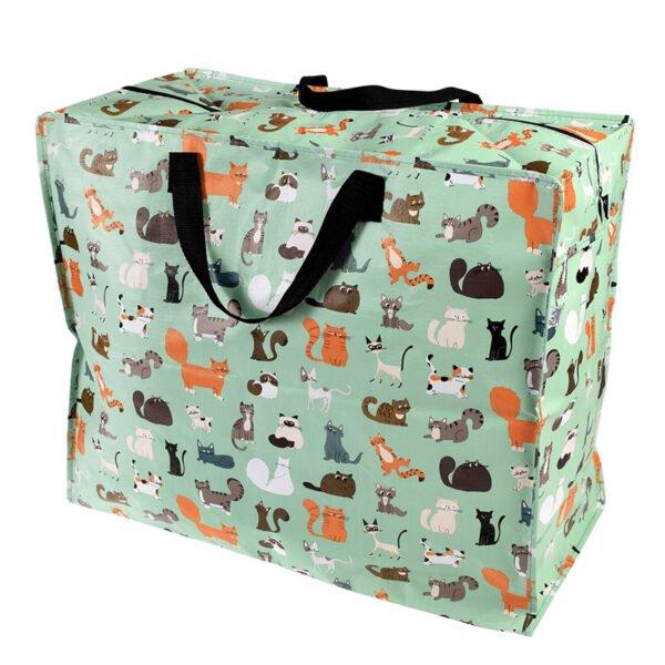 Stor väska med dragkedja - motiv katter
