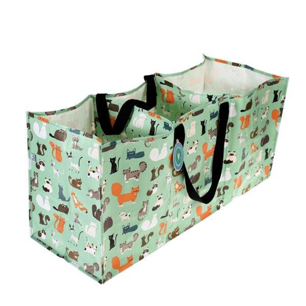 Stor väska med 3 fack för återvinning, tvätt eller förvaring