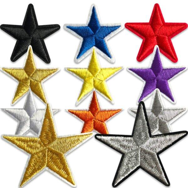 11-pack broderade stjärnor i olika färger