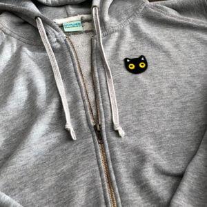 svart katt tröja tygmärke